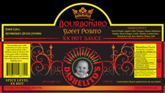 Label for Bourbonaro Hot Sauce by Dashelito's