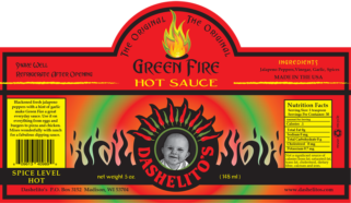 Label for The Original Green Fire by Dashelito's