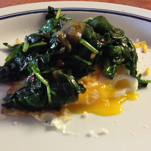 Eggs and spinach with Dashelito's Hot Pepper Sauce
