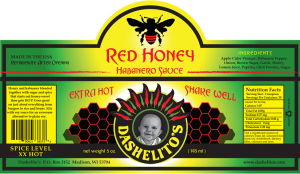 Label for Red Honey Hot Sauce by Dashelito's